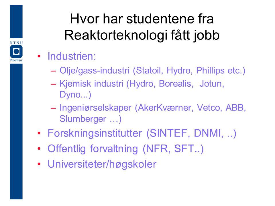 Hvor har studentene fra Reaktorteknologi fått jobb Industrien: –Olje/gass-industri (Statoil, Hydro, Phillips etc.) –Kjemisk industri (Hydro, Borealis,