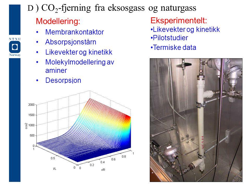 Modellering: Membrankontaktor Absorpsjonstårn Likevekter og kinetikk Molekylmodellering av aminer Desorpsjon Eksperimentelt: Likevekter og kinetikk Pi