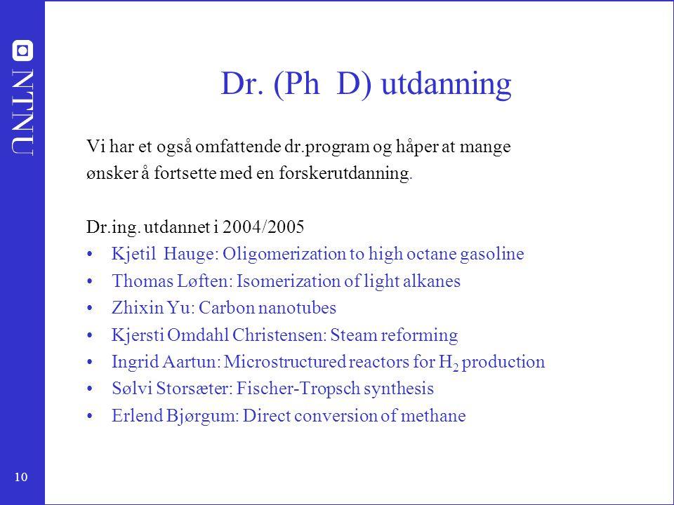 10 Dr. (Ph D) utdanning Vi har et også omfattende dr.program og håper at mange ønsker å fortsette med en forskerutdanning. Dr.ing. utdannet i 2004/200