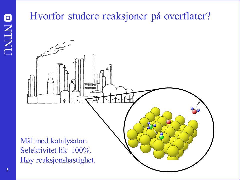 3 Hvorfor studere reaksjoner på overflater? Mål med katalysator: Selektivitet lik 100%. Høy reaksjonshastighet.