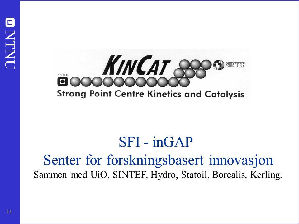 11 SFI - inGAP Senter for forskningsbasert innovasjon Sammen med UiO, SINTEF, Hydro, Statoil, Borealis, Kerling.