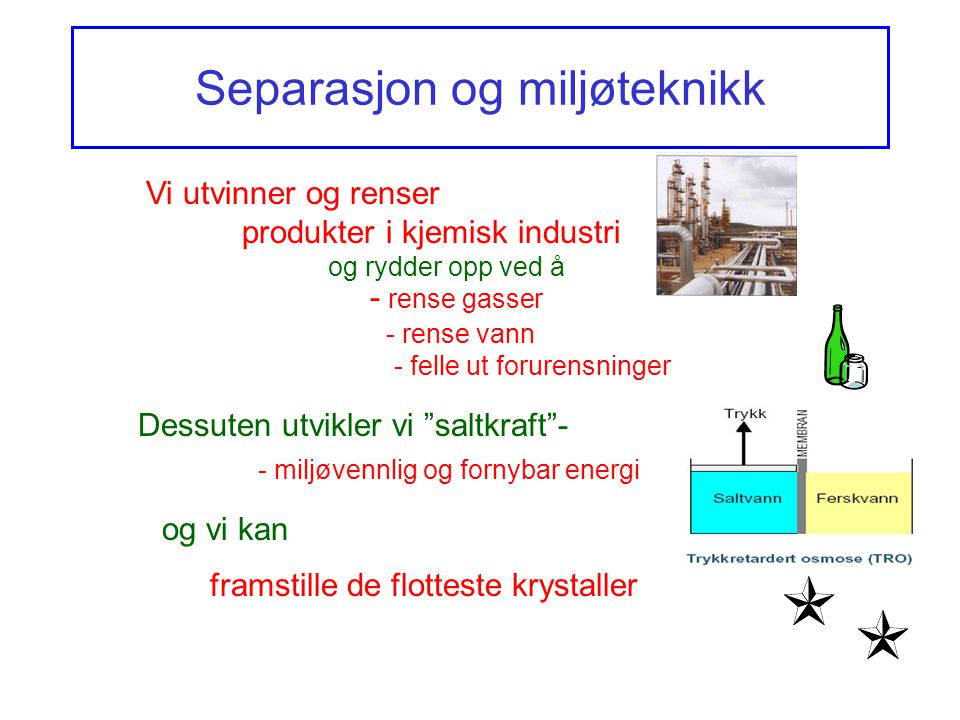 Separasjon og miljøteknikk Vi utvinner og renser produkter i kjemisk industri og rydder opp ved å - rense gasser - rense vann Dessuten utvikler vi saltkraft - - miljøvennlig og fornybar energi og vi kan framstille de flotteste krystaller - felle ut forurensninger