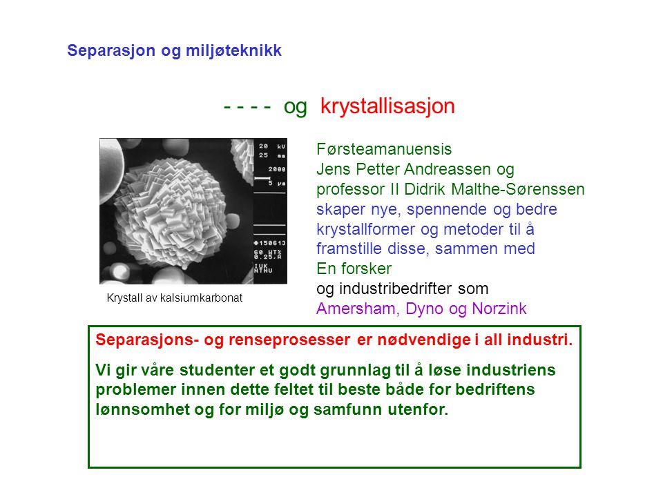 Separasjon og miljøteknikk - - - - og krystallisasjon Førsteamanuensis Jens Petter Andreassen og professor II Didrik Malthe-Sørenssen skaper nye, spennende og bedre krystallformer og metoder til å framstille disse, sammen med En forsker og industribedrifter som Amersham, Dyno og Norzink Krystall av kalsiumkarbonat Separasjons- og renseprosesser er nødvendige i all industri.