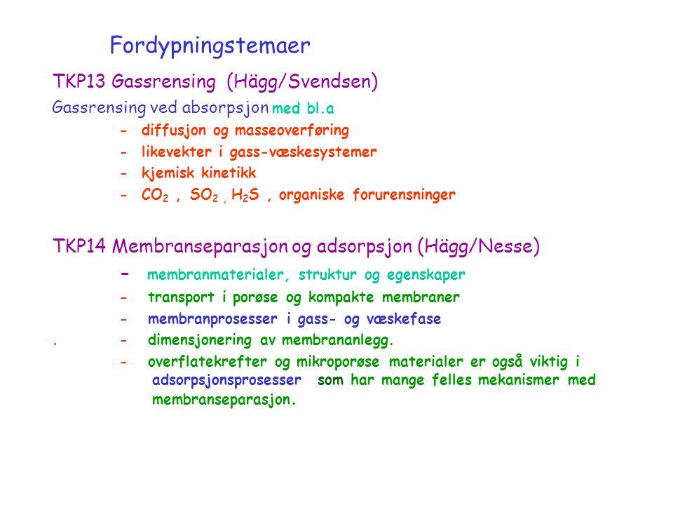 Fordypningstemaer TKP13 Gassrensing (Hägg/Svendsen) Gassrensing ved absorpsjon med bl.a - diffusjon og masseoverføring - likevekter i gass-væskesystemer - kjemisk kinetikk - CO 2, SO 2, H 2 S, organiske forurensninger TKP14 Membranseparasjon og adsorpsjon (Hägg/Nesse) - membranmaterialer, struktur og egenskaper - transport i porøse og kompakte membraner - membranprosesser i gass- og væskefase.