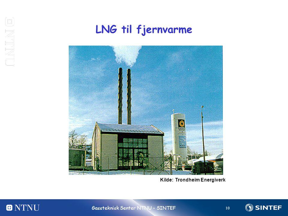 10 Gassteknisk Senter NTNU - SINTEF LNG til fjernvarme Kilde: Trondheim Energiverk