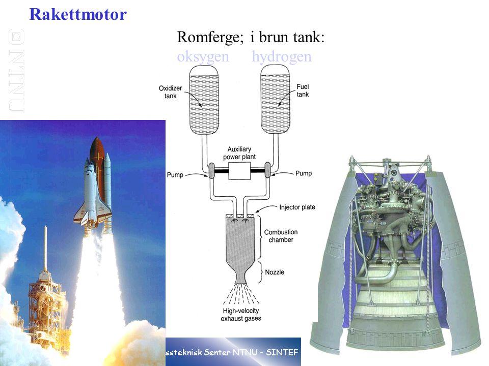 19 Gassteknisk Senter NTNU - SINTEF Rakettmotor Romferge; i brun tank: oksygen hydrogen