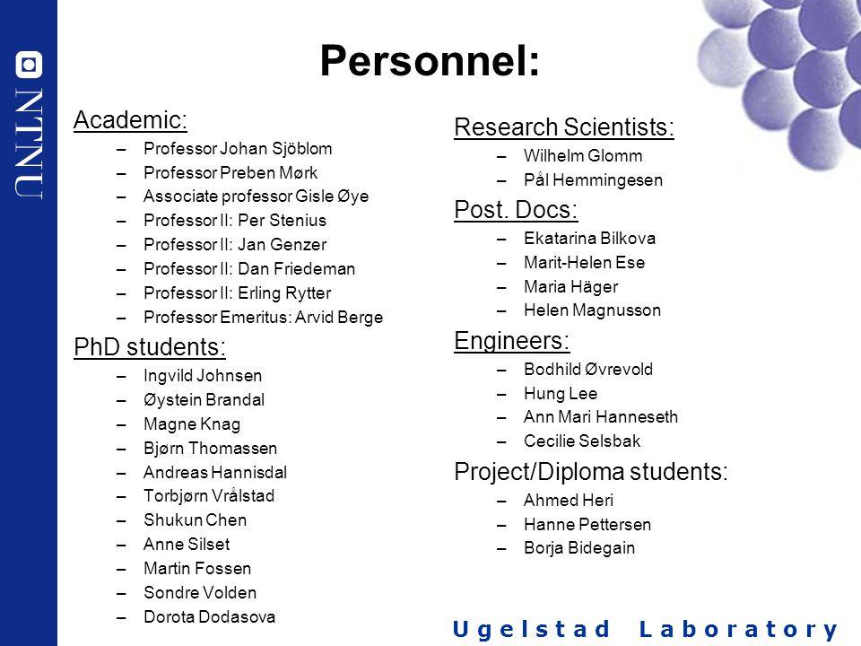 U g e l s t a d L a b o r a t o r y Personnel: Academic: –Professor Johan Sjöblom –Professor Preben Mørk –Associate professor Gisle Øye –Professor II: