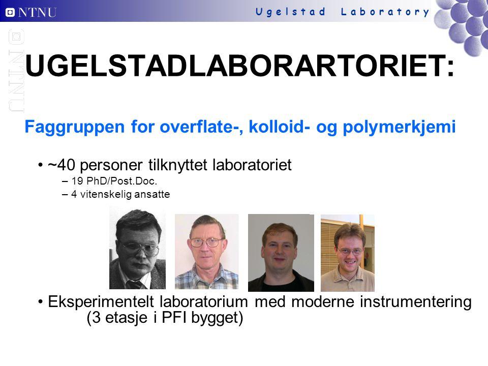 U g e l s t a d L a b o r a t o r y UGELSTADLABORARTORIET: Faggruppen for overflate-, kolloid- og polymerkjemi ~40 personer tilknyttet laboratoriet – 19 PhD/Post.Doc.