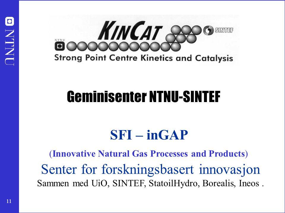 11 SFI – inGAP (Innovative Natural Gas Processes and Products) Senter for forskningsbasert innovasjon Sammen med UiO, SINTEF, StatoilHydro, Borealis,