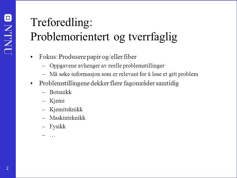 2 Treforedling: Problemorientert og tverrfaglig Fokus: Produsere papir og/eller fiber –Oppgavene avhenger av reelle problemstillinger –Må søke informa