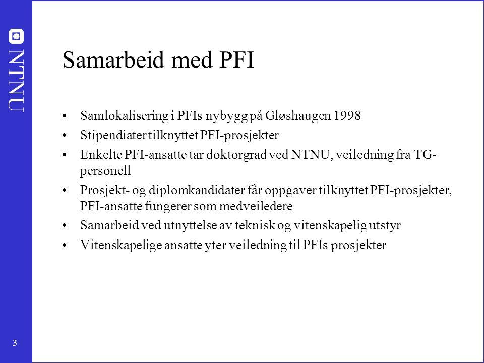 3 Samarbeid med PFI Samlokalisering i PFIs nybygg på Gløshaugen 1998 Stipendiater tilknyttet PFI-prosjekter Enkelte PFI-ansatte tar doktorgrad ved NTNU, veiledning fra TG- personell Prosjekt- og diplomkandidater får oppgaver tilknyttet PFI-prosjekter, PFI-ansatte fungerer som medveiledere Samarbeid ved utnyttelse av teknisk og vitenskapelig utstyr Vitenskapelige ansatte yter veiledning til PFIs prosjekter
