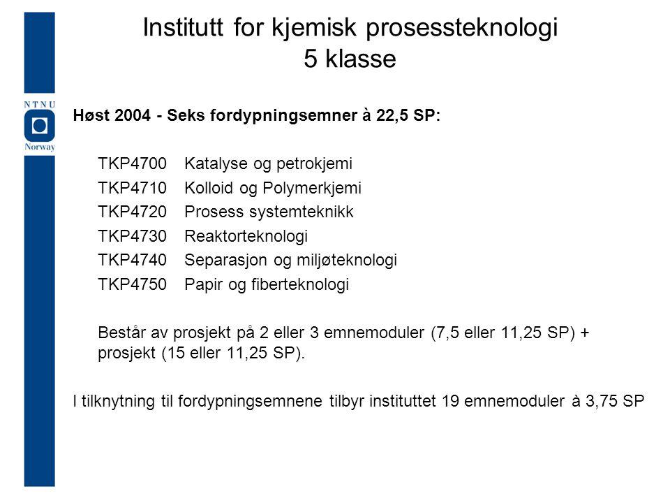 Høst 2004 - Seks fordypningsemner à 22,5 SP: TKP4700Katalyse og petrokjemi TKP4710 Kolloid og Polymerkjemi TKP4720 Prosess systemteknikk TKP4730 Reakt