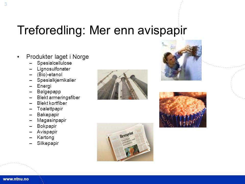 www.ntnu.no 3 Treforedling: Mer enn avispapir Produkter laget i Norge –Spesialcellulose –Lignosulfonater –(Bio)-etanol –Spesialkjemikalier –Energi –Bø