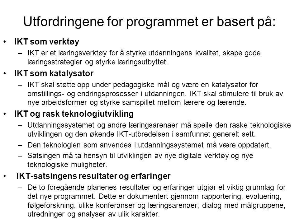 Utfordringene for programmet er basert på: IKT som verktøy –IKT er et læringsverktøy for å styrke utdanningens kvalitet, skape gode læringsstrategier og styrke læringsutbyttet.