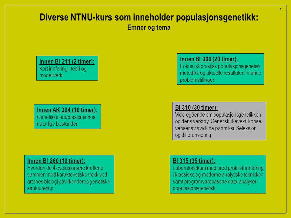 Diverse NTNU-kurs som inneholder populasjonsgenetikk: Emner og tema Innen BI 211 (2 timer): Kort innføring i teori og modellverk.