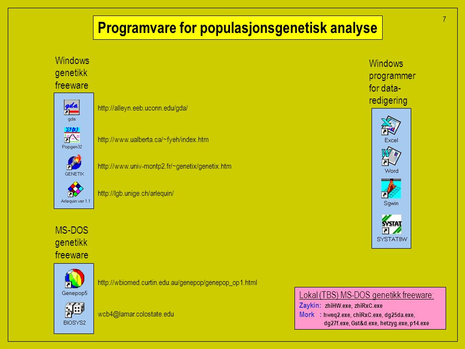 Lokal (TBS) MS-DOS genetikk freeware: Zaykin: zhiHW.exe, zhiRxC.exe Mork : hweq2.exe, chiRxC.exe, dg25da.exe, dg27f.exe, Gst&d.exe, hetzyg.exe, p14.exe Programvare for populasjonsgenetisk analyse Windows genetikk freeware MS-DOS genetikk freeware Windows programmer for data- redigering http://alleyn.eeb.uconn.edu/gda/ http://www.ualberta.ca/~fyeh/index.htm http://www.univ-montp2.fr/~genetix/genetix.htm http://lgb.unige.ch/arlequin/ http://wbiomed.curtin.edu.au/genepop/genepop_op1.html wcb4@lamar.colostate.edu 7