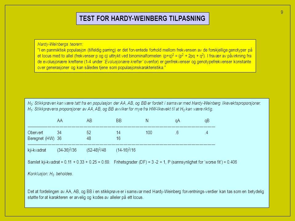 TEST FOR HARDY-WEINBERG TILPASNING H 0 : Stikkprøven kan være tatt fra en populasjon der AA, AB, og BB er fordelt i samsvar med Hardy-Weinberg likevektsproporsjoner.