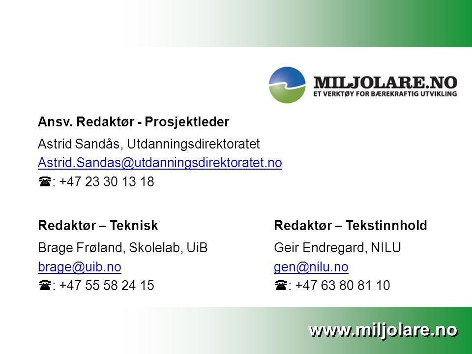 www.miljolare.no Ansv.