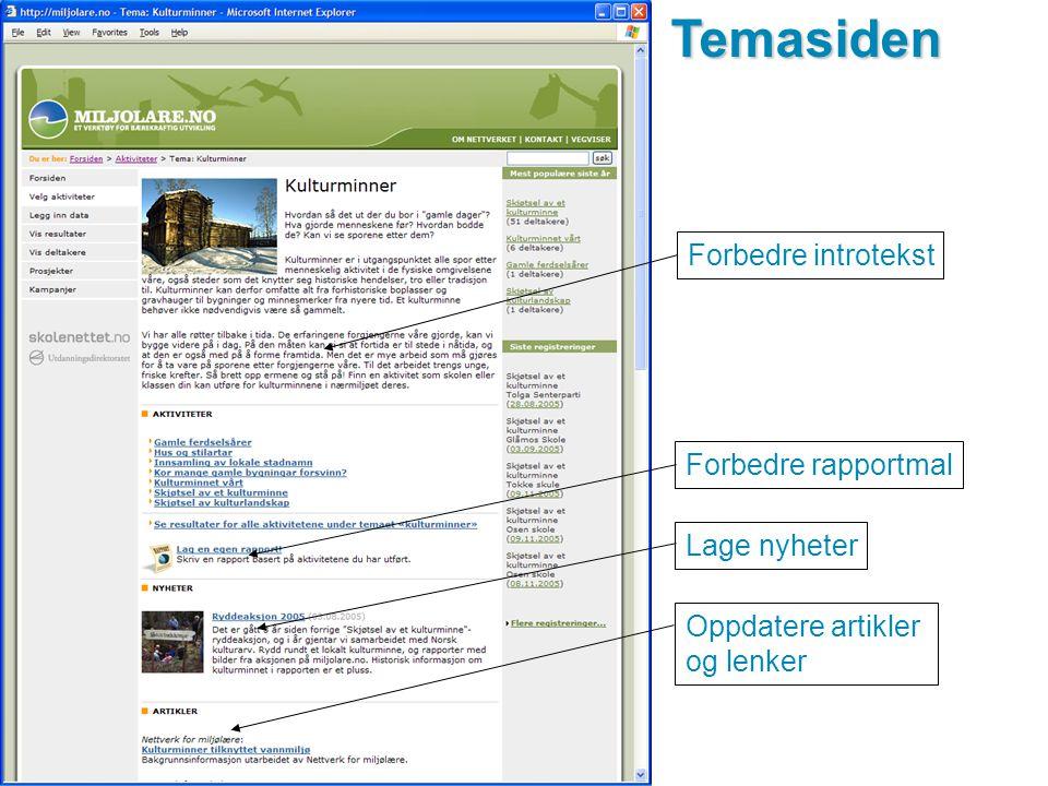 www.miljolare.noTemasiden Oppdatere artikler og lenker Forbedre rapportmal Lage nyheter Forbedre introtekst