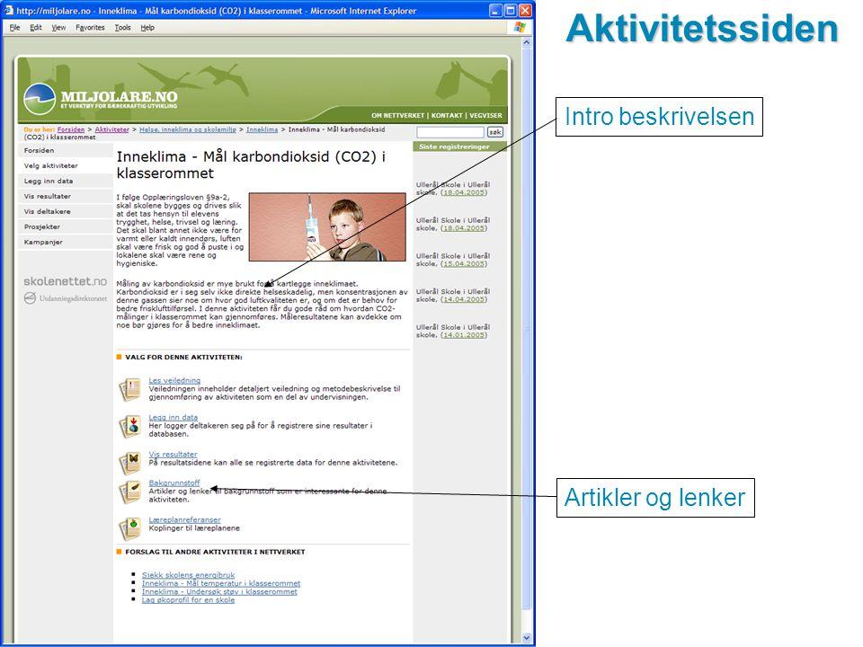 www.miljolare.noAktivitetssiden Intro beskrivelsen Artikler og lenker