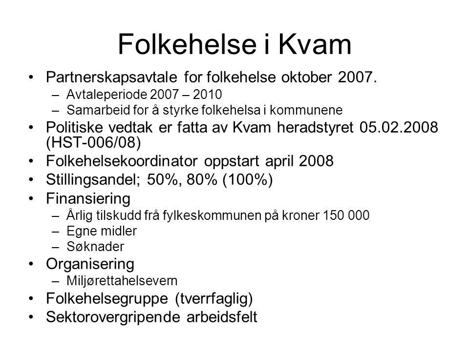 Folkehelse i Kvam Partnerskapsavtale for folkehelse oktober 2007. –Avtaleperiode 2007 – 2010 –Samarbeid for å styrke folkehelsa i kommunene Politiske