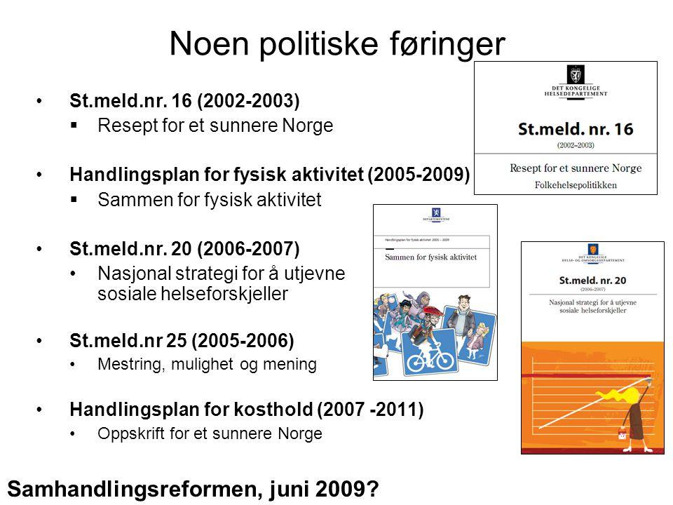 Noen politiske føringer St.meld.nr. 16 (2002-2003)  Resept for et sunnere Norge Handlingsplan for fysisk aktivitet (2005-2009)  Sammen for fysisk ak