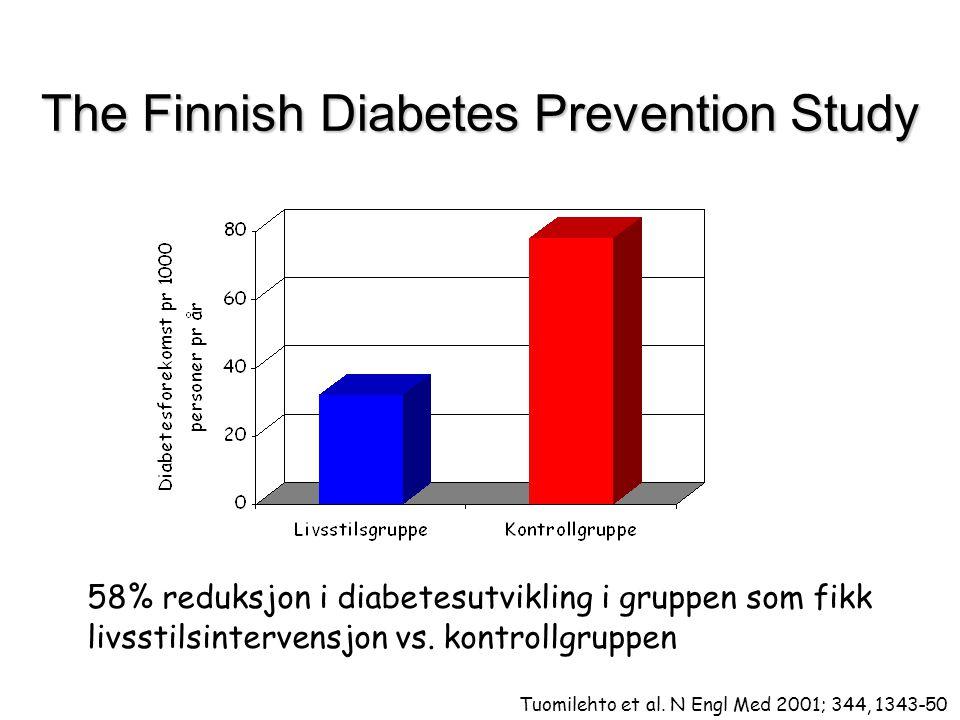 The Finnish Diabetes Prevention Study 58% reduksjon i diabetesutvikling i gruppen som fikk livsstilsintervensjon vs. kontrollgruppen Tuomilehto et al.