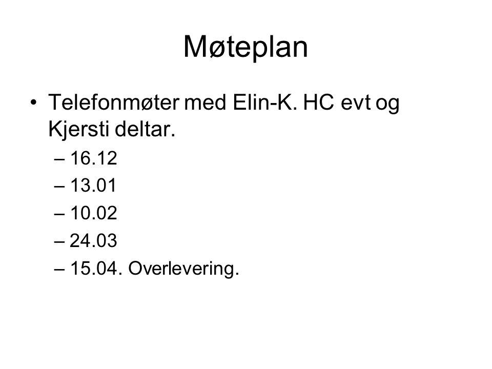 Møteplan Telefonmøter med Elin-K. HC evt og Kjersti deltar. –16.12 –13.01 –10.02 –24.03 –15.04. Overlevering.