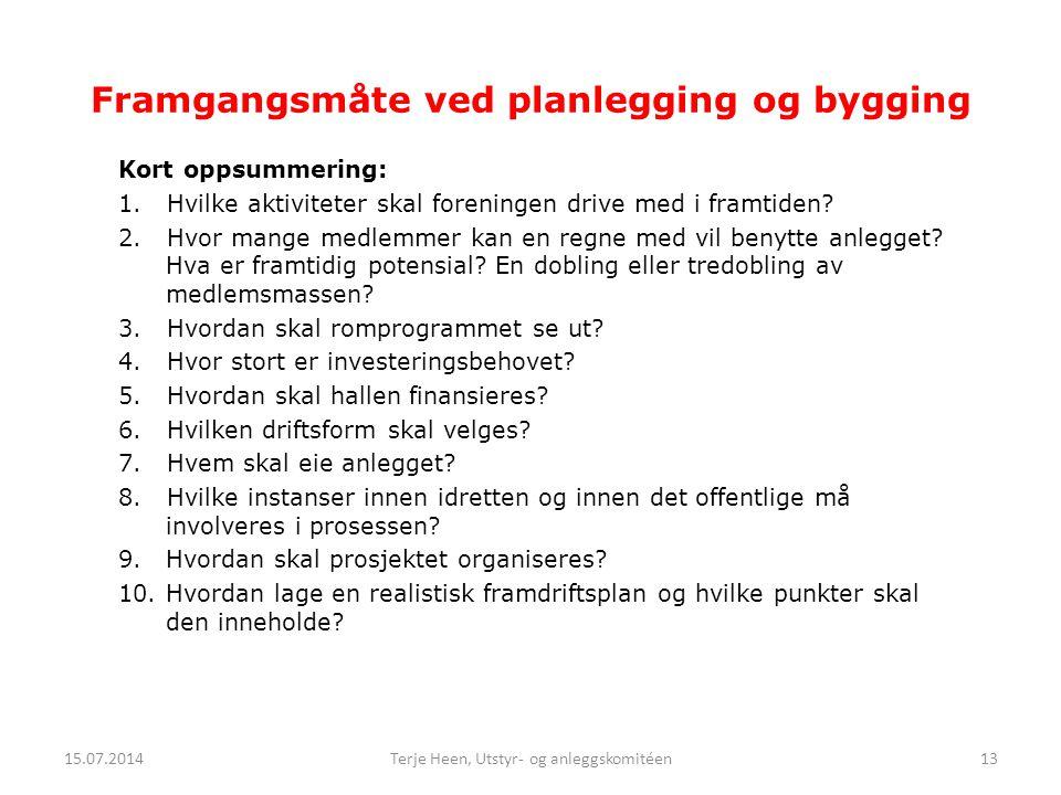 Framgangsmåte ved planlegging og bygging Kort oppsummering: 1. Hvilke aktiviteter skal foreningen drive med i framtiden? 2. Hvor mange medlemmer kan e