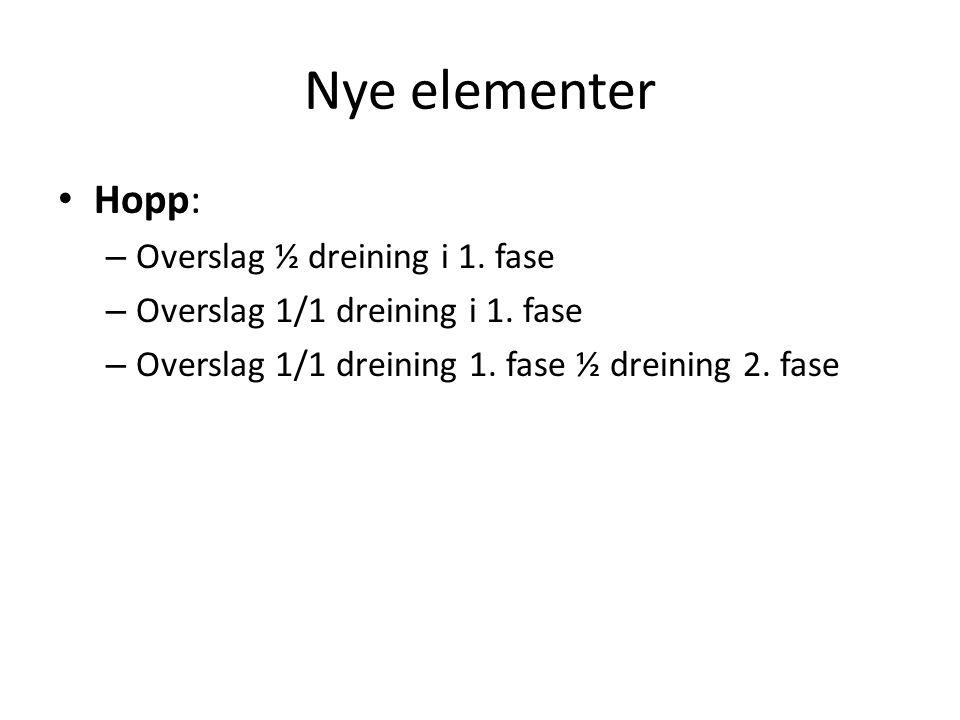 Nye elementer Hopp: – Overslag ½ dreining i 1. fase – Overslag 1/1 dreining i 1.