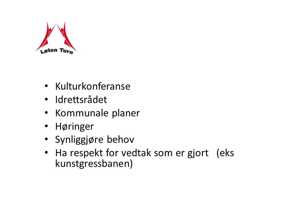 Kulturkonferanse Idrettsrådet Kommunale planer Høringer Synliggjøre behov Ha respekt for vedtak som er gjort (eks kunstgressbanen)