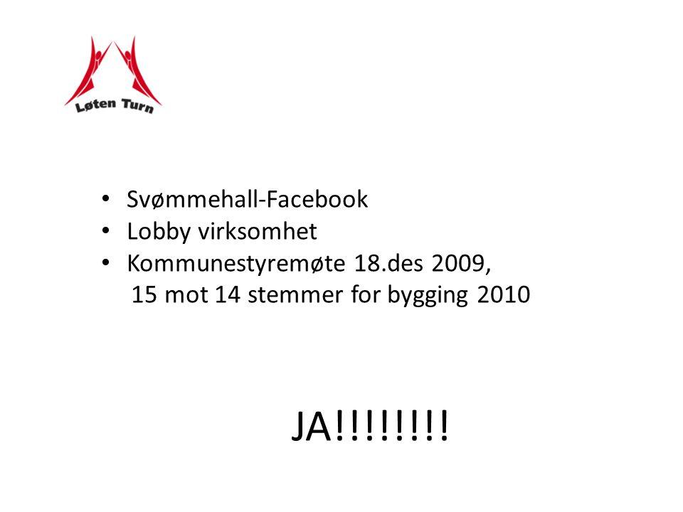 Svømmehall-Facebook Lobby virksomhet Kommunestyremøte 18.des 2009, 15 mot 14 stemmer for bygging 2010 JA!!!!!!!!