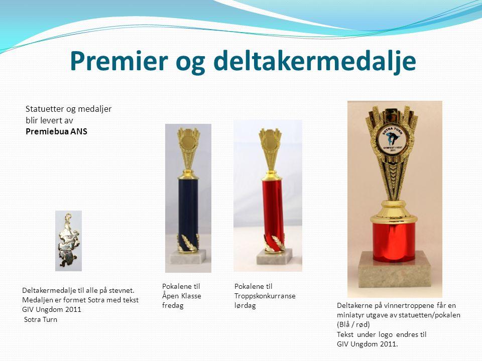 Premier og deltakermedalje Deltakermedalje til alle på stevnet. Medaljen er formet Sotra med tekst GIV Ungdom 2011 Sotra Turn Pokalene til Åpen Klasse