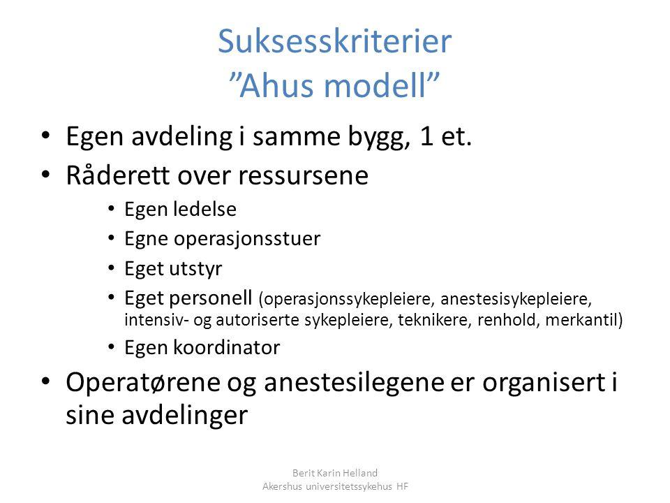 """Berit Karin Helland Akershus universitetssykehus HF Suksesskriterier """"Ahus modell"""" Egen avdeling i samme bygg, 1 et. Råderett over ressursene Egen led"""
