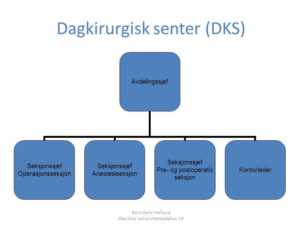 Berit Karin Helland Akershus universitetssykehus HF Dagkirurgisk senter (DKS) Avdelingssjef Seksjonssjef Operasjonsseksjon Seksjonssjef Anestesiseksjo