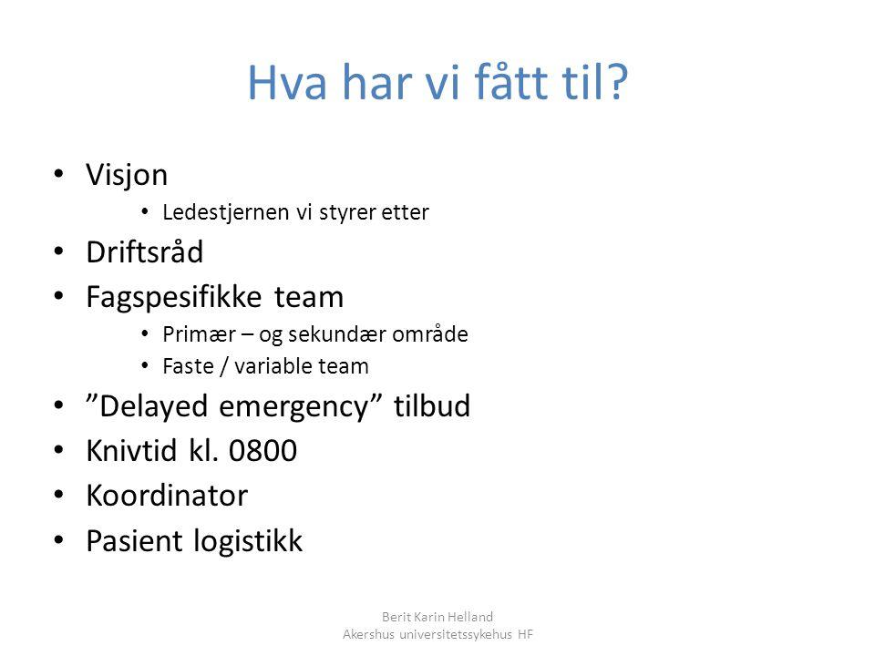 Berit Karin Helland Akershus universitetssykehus HF Hva har vi fått til? Visjon Ledestjernen vi styrer etter Driftsråd Fagspesifikke team Primær – og