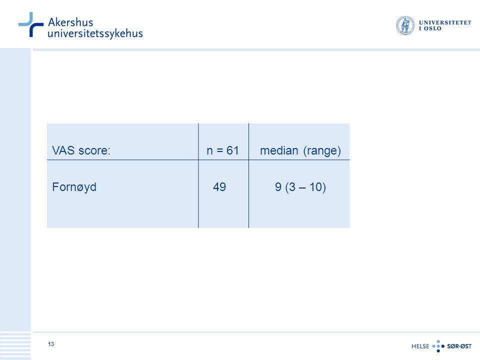 13 VAS score: n = 61 median (range) Fornøyd 49 9 (3 – 10)
