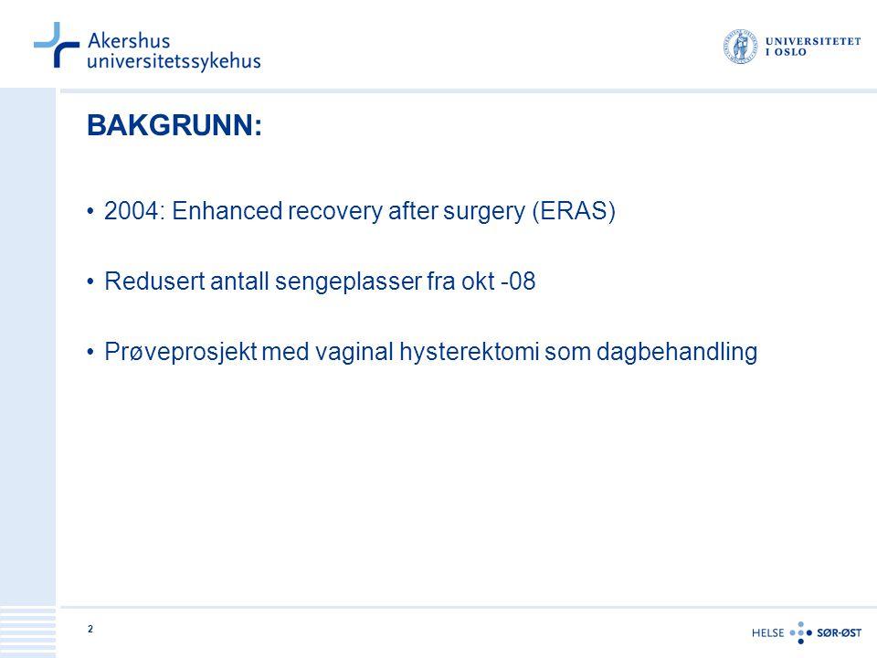2 BAKGRUNN: 2004: Enhanced recovery after surgery (ERAS) Redusert antall sengeplasser fra okt -08 Prøveprosjekt med vaginal hysterektomi som dagbehand