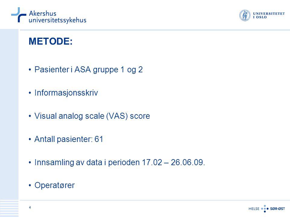 4 METODE: Pasienter i ASA gruppe 1 og 2 Informasjonsskriv Visual analog scale (VAS) score Antall pasienter: 61 Innsamling av data i perioden 17.02 – 2