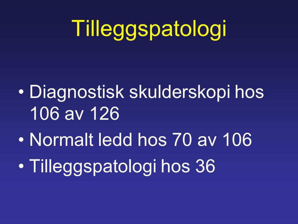 Tilleggspatologi Diagnostisk skulderskopi hos 106 av 126 Normalt ledd hos 70 av 106 Tilleggspatologi hos 36
