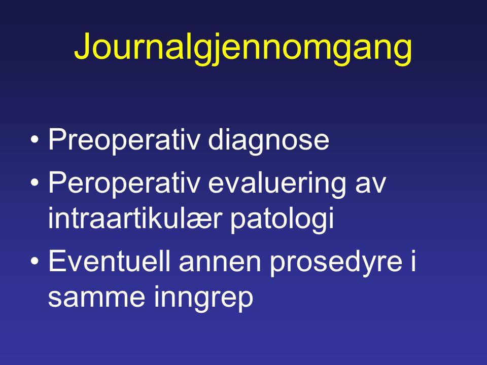 Journalgjennomgang Preoperativ diagnose Peroperativ evaluering av intraartikulær patologi Eventuell annen prosedyre i samme inngrep