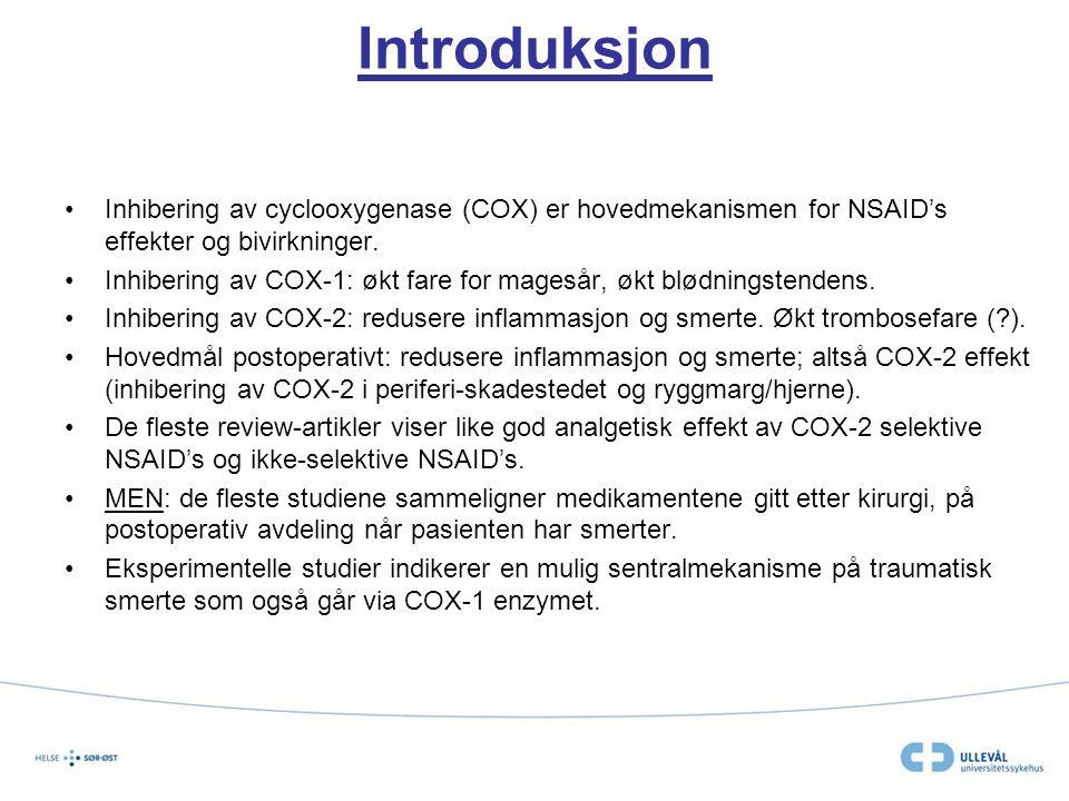 Introduksjon Inhibering av cyclooxygenase (COX) er hovedmekanismen for NSAID's effekter og bivirkninger. Inhibering av COX-1: økt fare for magesår, øk
