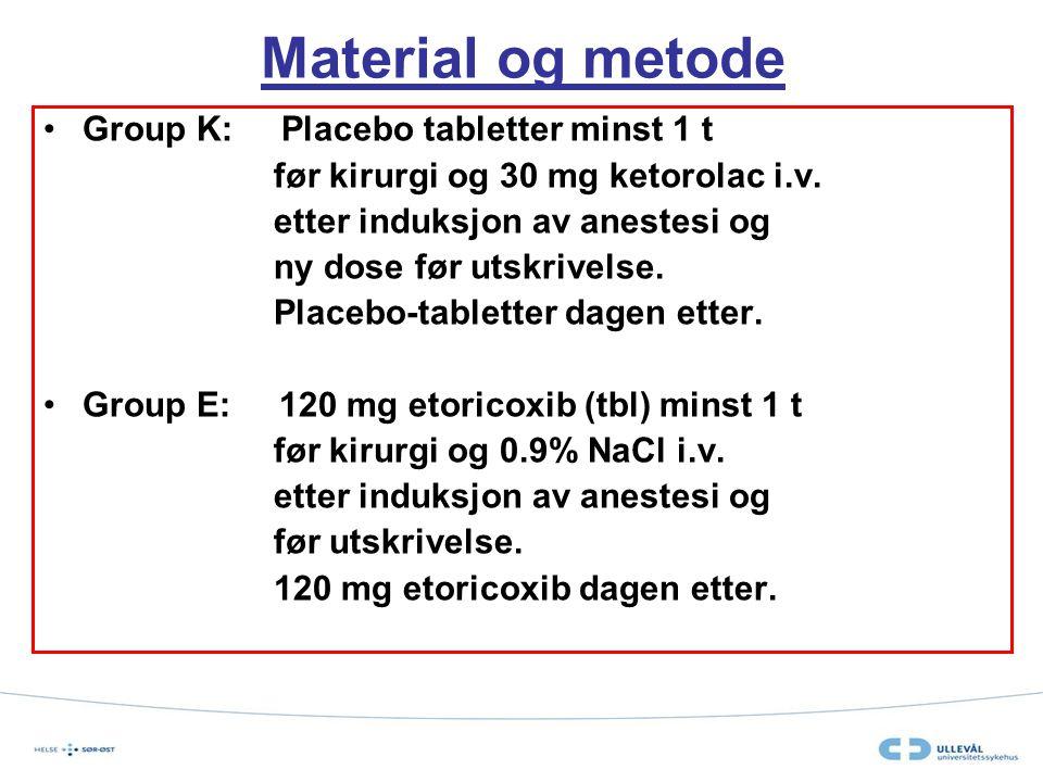 Material og metode Group K: Placebo tabletter minst 1 t før kirurgi og 30 mg ketorolac i.v. etter induksjon av anestesi og ny dose før utskrivelse. Pl