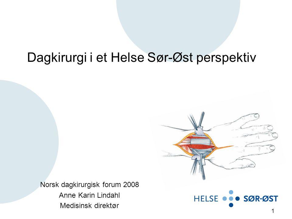 1 Dagkirurgi i et Helse Sør-Øst perspektiv Norsk dagkirurgisk forum 2008 Anne Karin Lindahl Medisinsk direktør