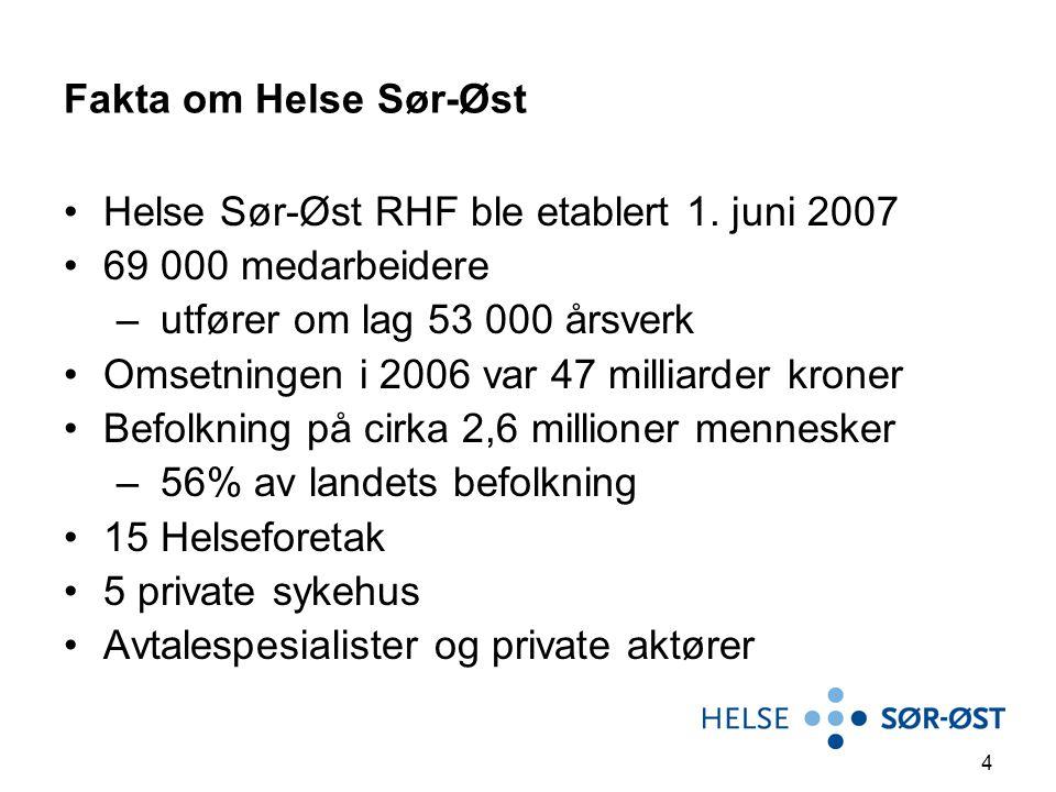 4 Fakta om Helse Sør-Øst Helse Sør-Øst RHF ble etablert 1. juni 2007 69 000 medarbeidere – utfører om lag 53 000 årsverk Omsetningen i 2006 var 47 mil