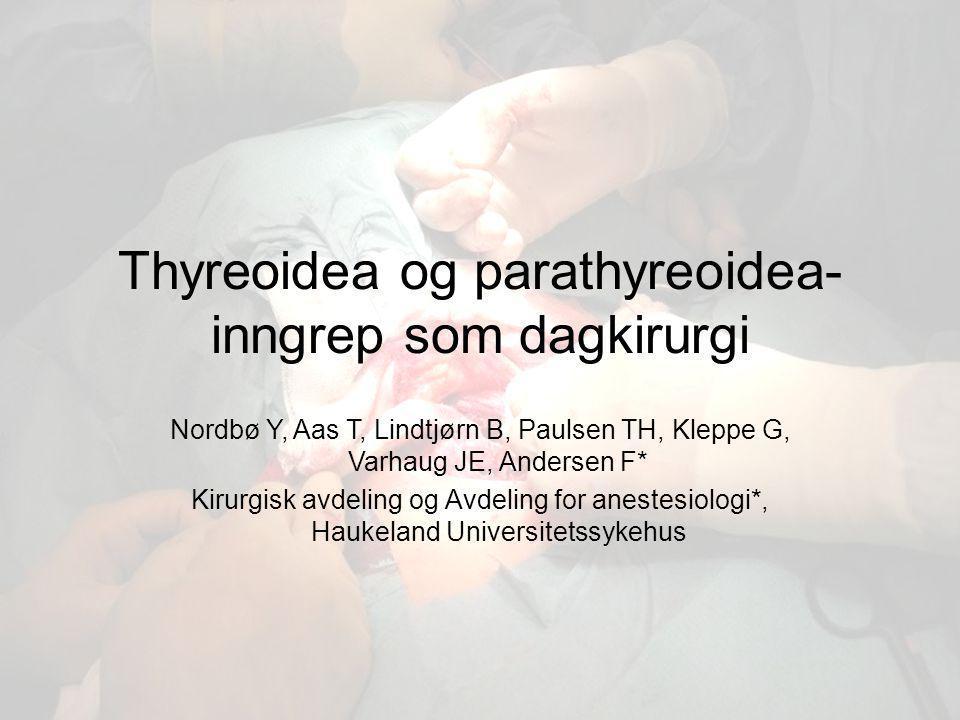I 4 årsperioden 2003-2007 Totalt 247 thyreoidea- og parathyreoidea- inngrep dagkirurgisk Thyreoidea: 231 Parathyreoidea: 16
