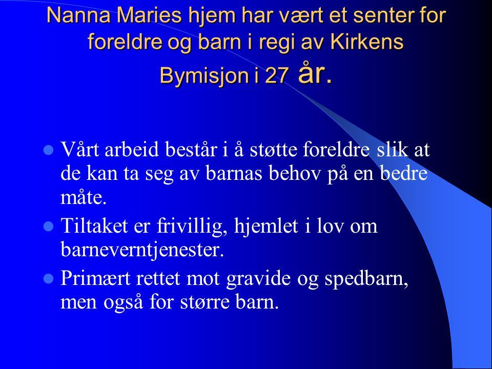 Nanna Maries hjem har vært et senter for foreldre og barn i regi av Kirkens Bymisjon i 27 år. Vårt arbeid består i å støtte foreldre slik at de kan ta