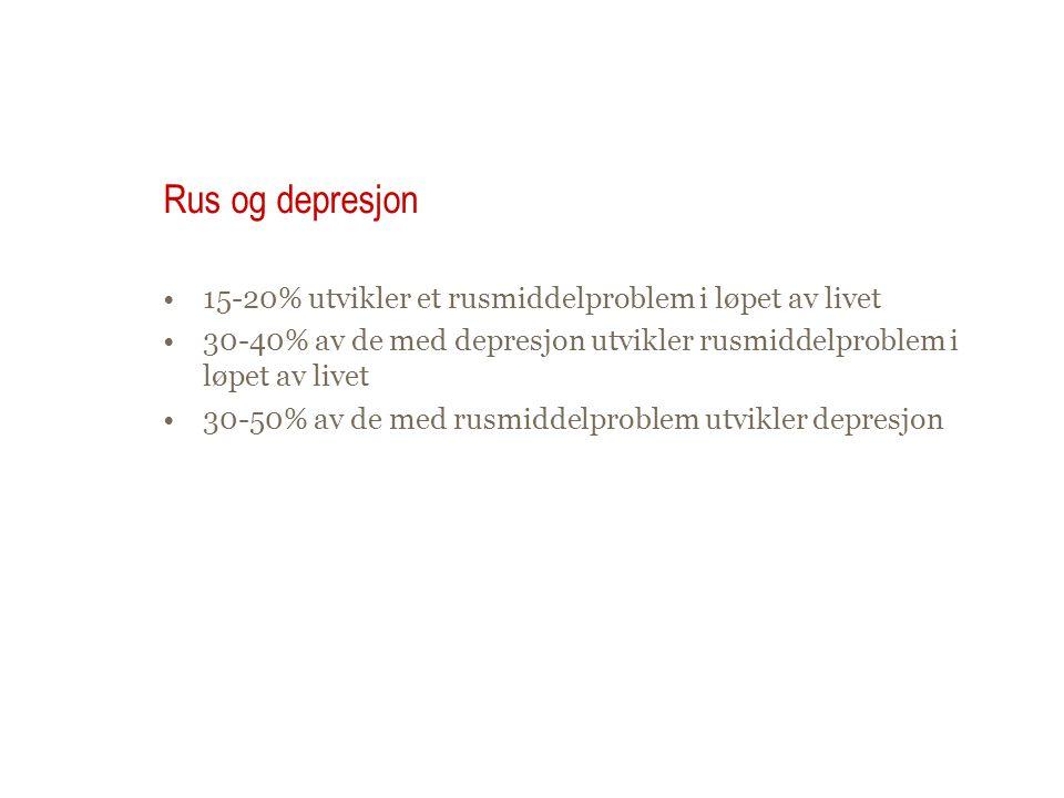 Rus og depresjon 15-20% utvikler et rusmiddelproblem i løpet av livet 30-40% av de med depresjon utvikler rusmiddelproblem i løpet av livet 30-50% av