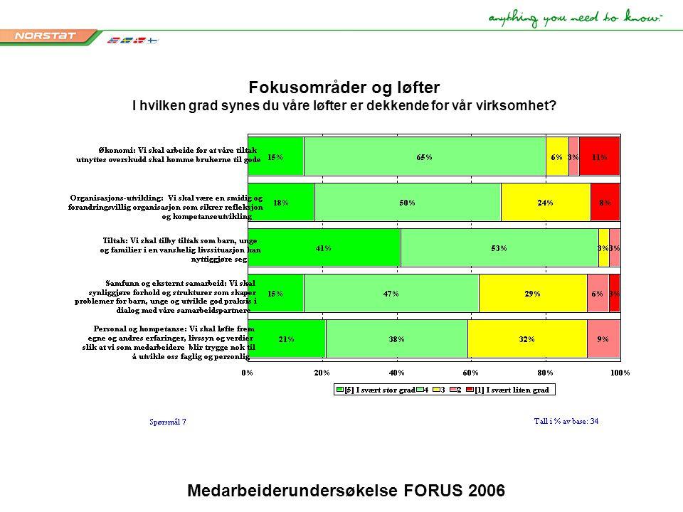 Medarbeiderundersøkelse FORUS 2006 Fokusområder og løfter I hvilken grad synes du våre løfter er dekkende for vår virksomhet?