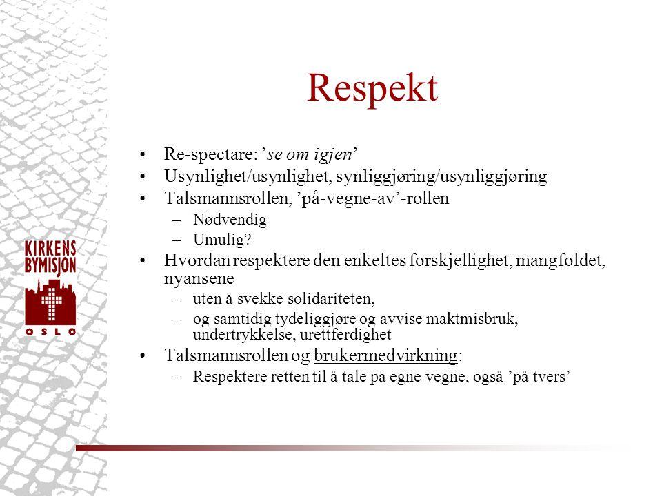 Respekt Re-spectare: 'se om igjen' Usynlighet/usynlighet, synliggjøring/usynliggjøring Talsmannsrollen, 'på-vegne-av'-rollen –Nødvendig –Umulig.
